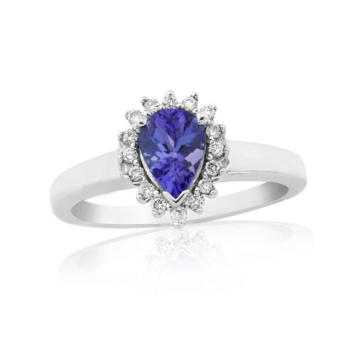Tanzanite And Diamond Pear Shaped White Gold Ring